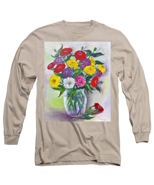 Old Fashioned Zinnias Long Sleeve T-Shirt