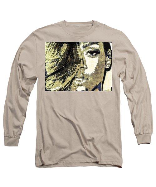 Long Sleeve T-Shirt featuring the digital art Rihanna by Svelby Art