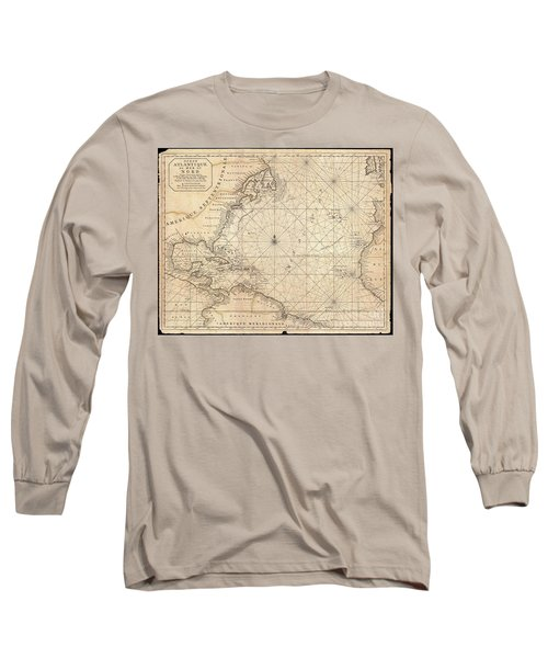 1683 Mortier Map Of North America The West Indies And The Atlantic Ocean  Long Sleeve T-Shirt