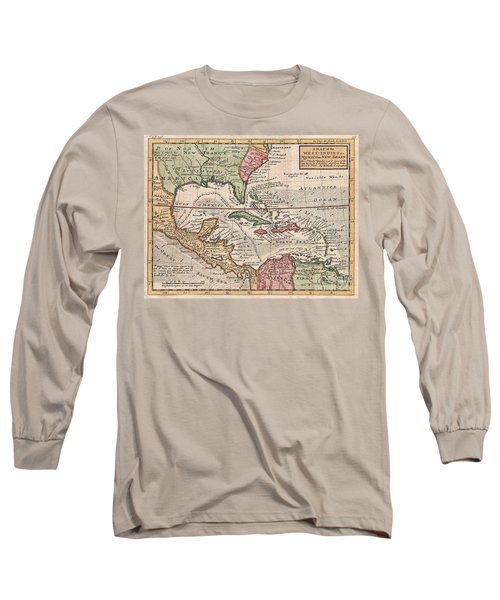 1732 Herman Moll Map Of The West Indies And Caribbean Long Sleeve T-Shirt