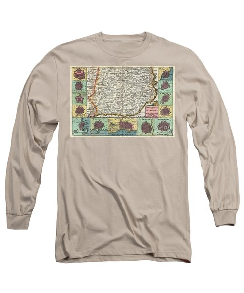 1747 La Feuille Map Of Catalonia Spain Long Sleeve T-Shirt