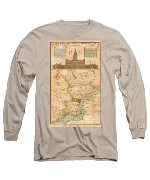 1752  Scull  Heap Map Of Philadelphia And Environs Long Sleeve T-Shirt