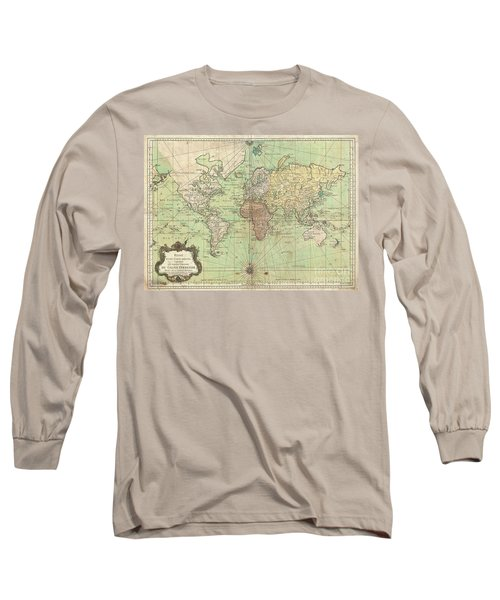 1778 Bellin Nautical Chart Or Map Of The World Long Sleeve T-Shirt
