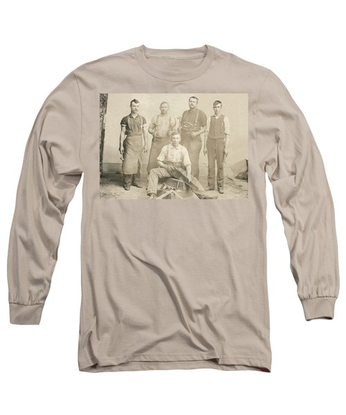 1800's Vintage Photo Of Blacksmiths Long Sleeve T-Shirt by Charles Beeler