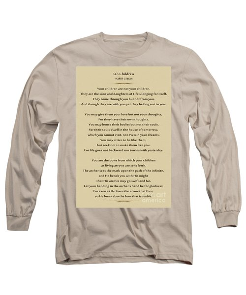 184- Kahlil Gibran - On Children Long Sleeve T-Shirt by Joseph Keane