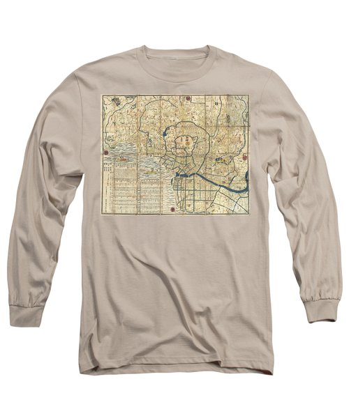 1849 Japanese Map Of Edo Or Tokyo Long Sleeve T-Shirt