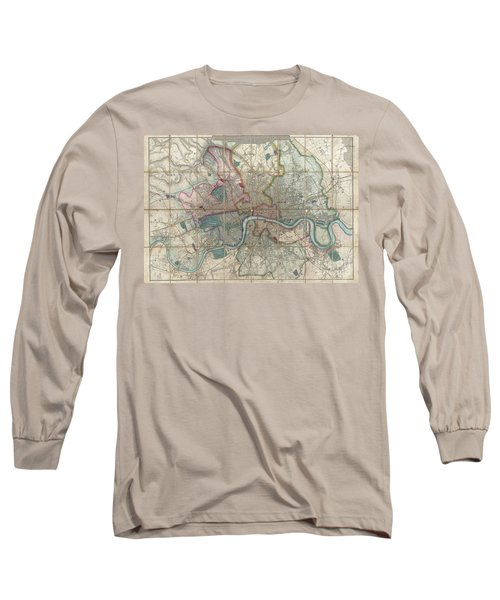 1852 Davies Case Map Or Pocket Map Of London Long Sleeve T-Shirt