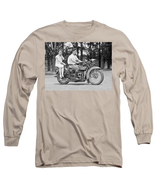 1930s Motorcycle Touring Long Sleeve T-Shirt by Daniel Hagerman