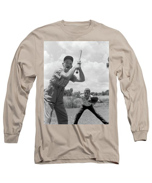 1950s Grandfather At Bat With Grandson Long Sleeve T-Shirt