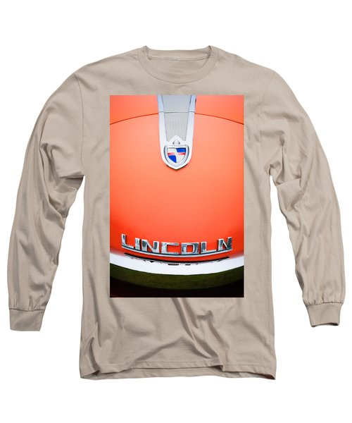 Long Sleeve T-Shirt featuring the photograph 1955 Lincoln Indianapolis Boano Coupe Emblem by Jill Reger