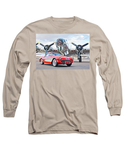 1957 Chevrolet Corvette Long Sleeve T-Shirt by Jill Reger