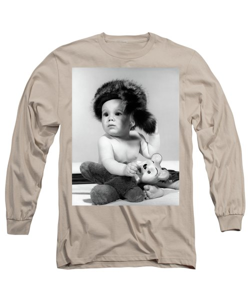 1960s Baby Wearing Coonskin Hat Long Sleeve T-Shirt