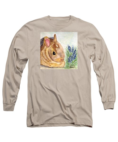 Long Sleeve T-Shirt featuring the painting A Baby Bunny by Angela Davies