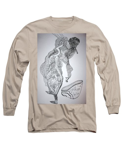 Long Sleeve T-Shirt featuring the drawing Bakiga Dance - Uganda by Gloria Ssali