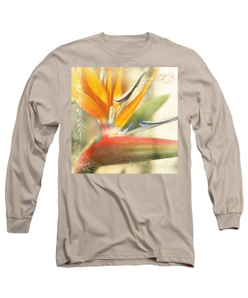 Bird Of Paradise - Strelitzea Reginae - Tropical Flowers Of Hawaii Long Sleeve T-Shirt by Sharon Mau