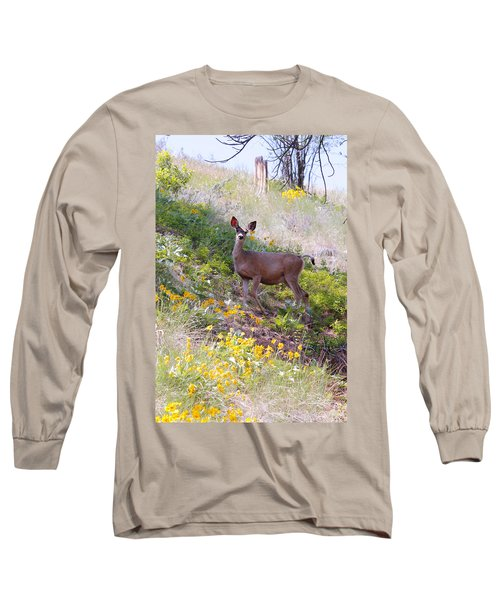 Deer In Wildflowers Long Sleeve T-Shirt by Athena Mckinzie