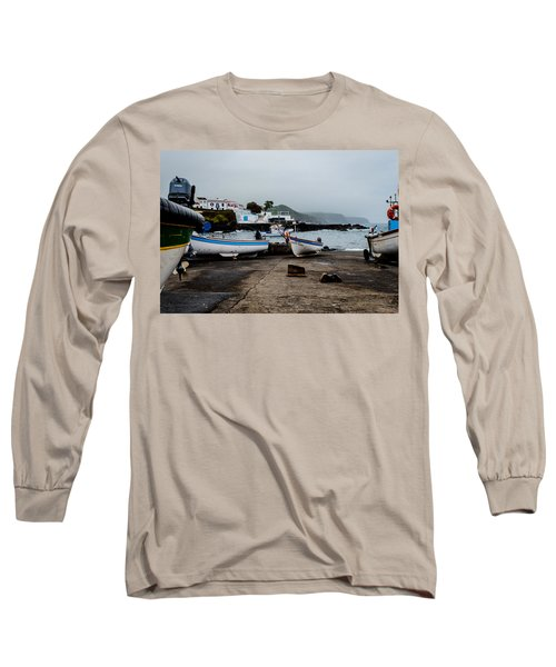 Fishing Boats On Wharf With View Of Houses  Long Sleeve T-Shirt