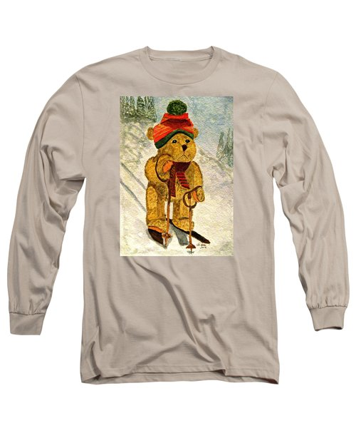 Learning To Ski Long Sleeve T-Shirt by Angela Davies