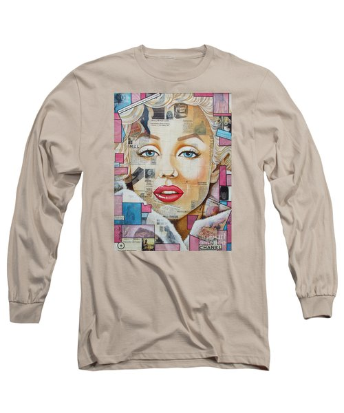 Marilyn In Pink And Blue Long Sleeve T-Shirt by Joseph Sonday