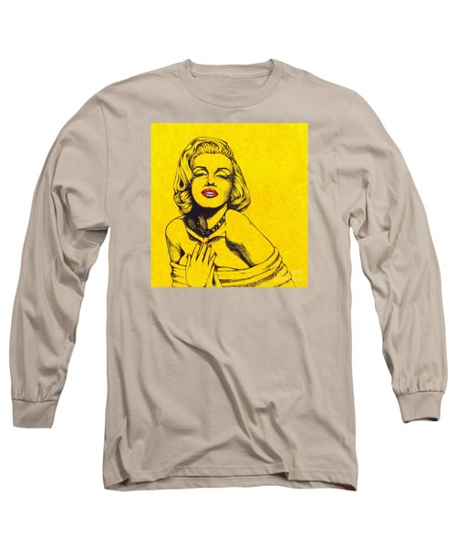 Marilyn In Yellow Long Sleeve T-Shirt by Joseph Sonday