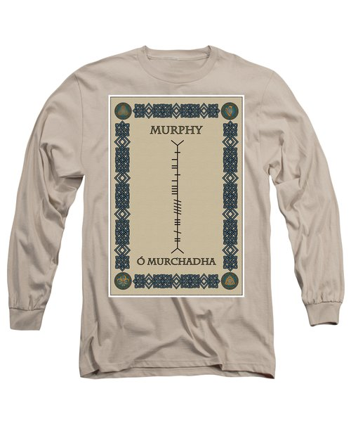 Long Sleeve T-Shirt featuring the digital art Murphy Written In Ogham by Ireland Calling