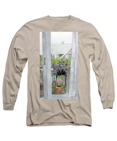 Long Sleeve T-Shirt featuring the painting Nantucket Room View by Carol Flagg