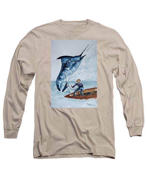 Old Man And The Sea Long Sleeve T-Shirt by Barbara McMahon