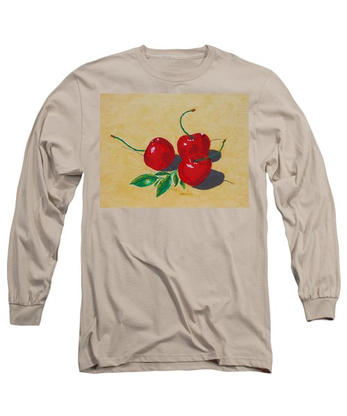Long Sleeve T-Shirt featuring the painting Red Cherries by Johanna Bruwer