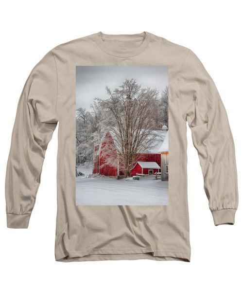 Red Vermont Barn Long Sleeve T-Shirt