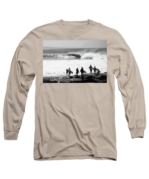 Silhouette Of Surfers Standing Long Sleeve T-Shirt