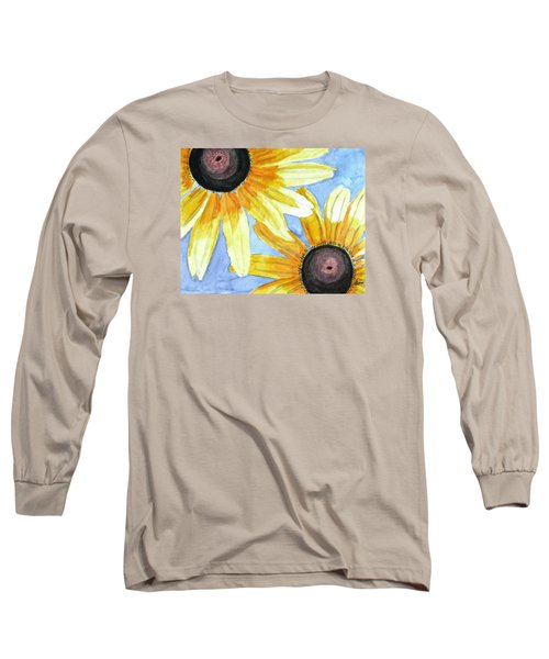 Long Sleeve T-Shirt featuring the painting Summer Susans by Angela Davies
