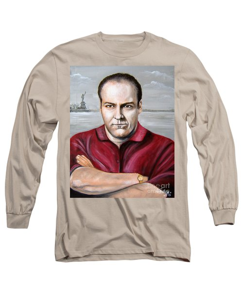 Long Sleeve T-Shirt featuring the painting Tony Soprano by Patrice Torrillo
