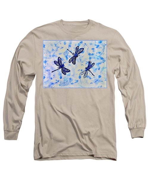 3 Blue Dragonflies Alcohol Ink Long Sleeve T-Shirt by Danielle  Parent