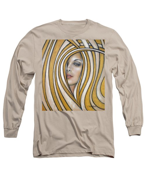 Long Sleeve T-Shirt featuring the painting Golden Dream 060809 by Selena Boron