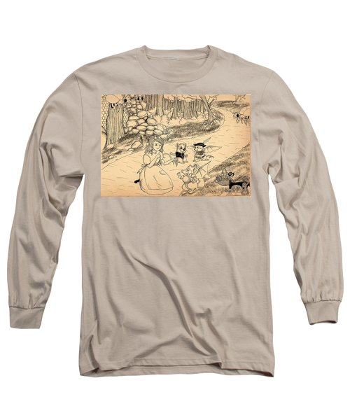 Long Sleeve T-Shirt featuring the drawing Tammy  Meets Cedric The Mongoose by Reynold Jay