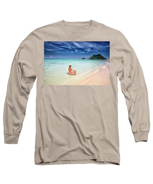 Turquoise Waters And White Sand In Ko Long Sleeve T-Shirt