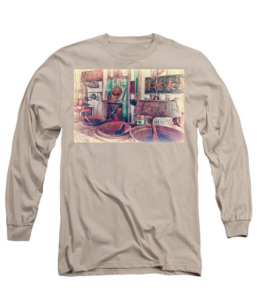 Long Sleeve T-Shirt featuring the photograph 3-wok Kitchen by Jim Thompson