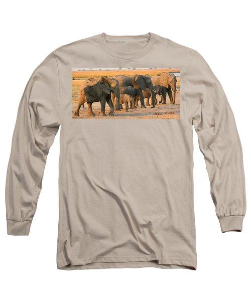 Long Sleeve T-Shirt featuring the photograph Kalahari Elephants by Amanda Stadther