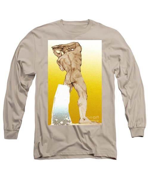 Long Sleeve T-Shirt featuring the drawing Olympic Athletics Discus Throw by Greta Corens
