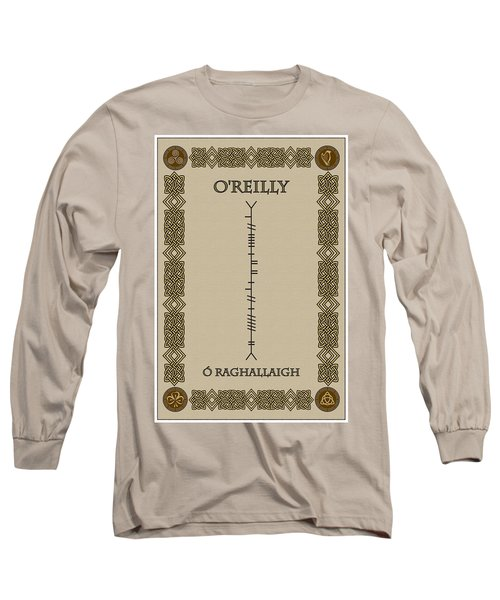 Long Sleeve T-Shirt featuring the digital art O'reilly Written In Ogham by Ireland Calling