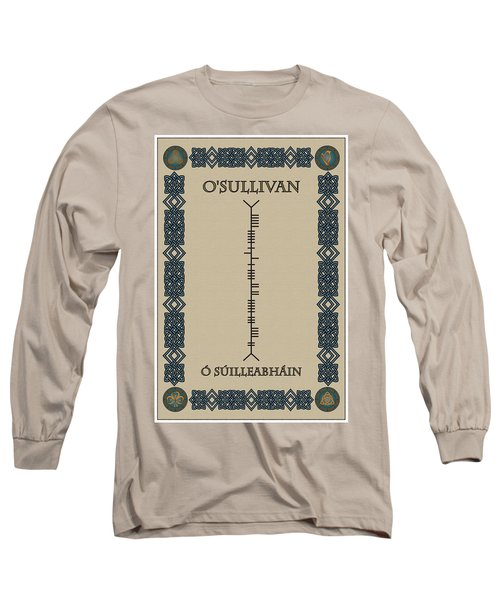 Long Sleeve T-Shirt featuring the digital art O'sullivan Written In Ogham by Ireland Calling