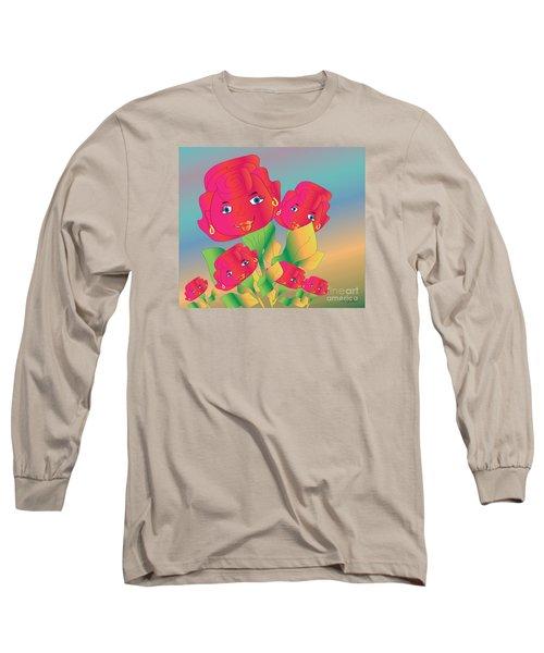 Long Sleeve T-Shirt featuring the digital art Family by Iris Gelbart
