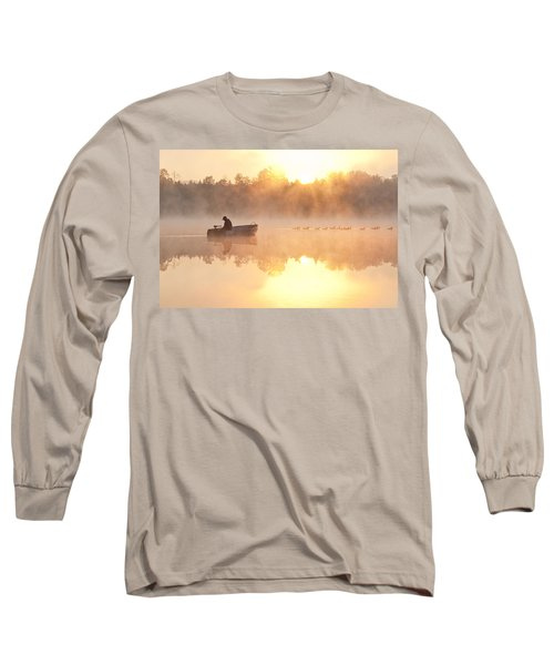 Sunrise In Fog Lake Cassidy With Fisherman In Small Fishing Boat Long Sleeve T-Shirt