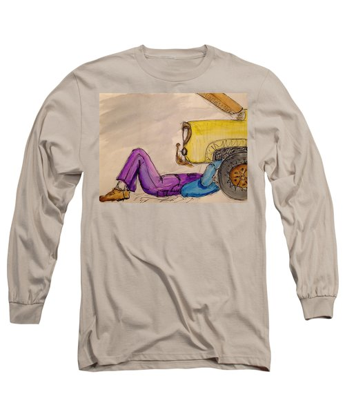 Long Sleeve T-Shirt featuring the painting 57 Ford by Erika Chamberlin