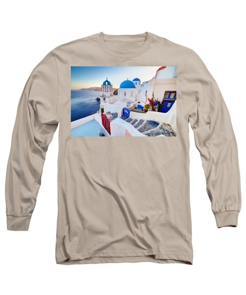 Oia Town On Santorini Greece Long Sleeve T-Shirt