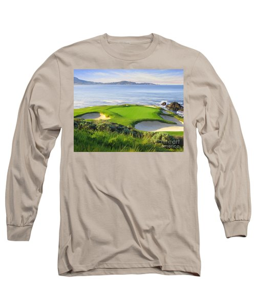 7th Hole At Pebble Beach Long Sleeve T-Shirt by Tim Gilliland