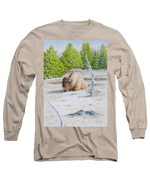 A Buffalo Sits In Yellowstone Long Sleeve T-Shirt