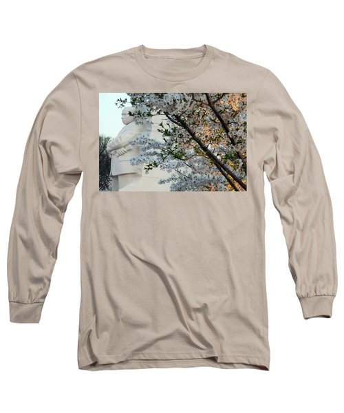 Long Sleeve T-Shirt featuring the photograph A Cherry Blossomed Martin Luther King by Cora Wandel