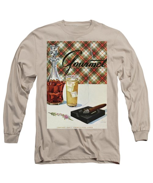 A Cigar In An Ashtray Beside A Drink And Decanter Long Sleeve T-Shirt