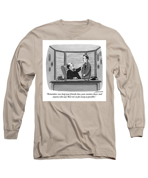 A Father Behind A Desk Addresses His Grown Up Son Long Sleeve T-Shirt